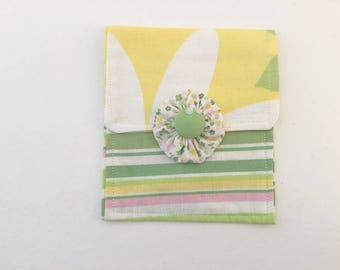 Mini Purse, Coin Purse, Cosmetic Bag, Handmade, Yellow and White, Floral, Stripes, Yellow and Green
