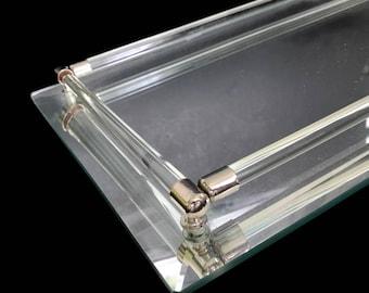 Vintage Vanity Tray Mirrored Tray Hollywood Regency Bathroom Tray Rectangular Perfume Tray Jewelry Tray Dresser Tray Glass and Metal