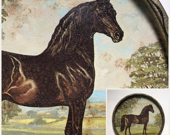 Vintage 60's Tole Tray Horse Art Tray Wall Decor Round Metal Tray Jeanne Mellin 1966 Signed Tray Horse Picture Serving Tray