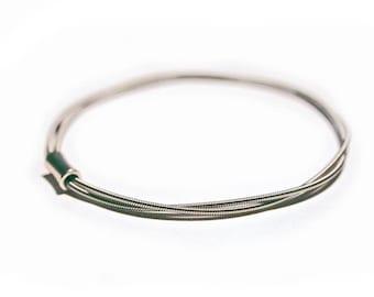 Guitar String Bangle | Silver toned bracelet | Music Gift | Guitar Jewellery