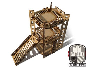 Industrial Tower D -  2 Level Rig Platform - Futuristic Necromunda Warhammer 40k Wargaming Building Scenery 28mm Scale