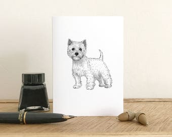 West Highland Terrier Greeting Card - Westie Card - Blank Card - Fine Art Giclee Card - Birthday card - Thank you card - Small note card