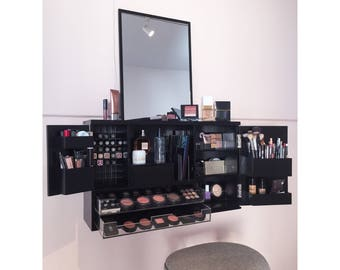 Black - Wall Mounted/Counter top  Makeup Organizer Vanity (Pre - Order Ships early October)