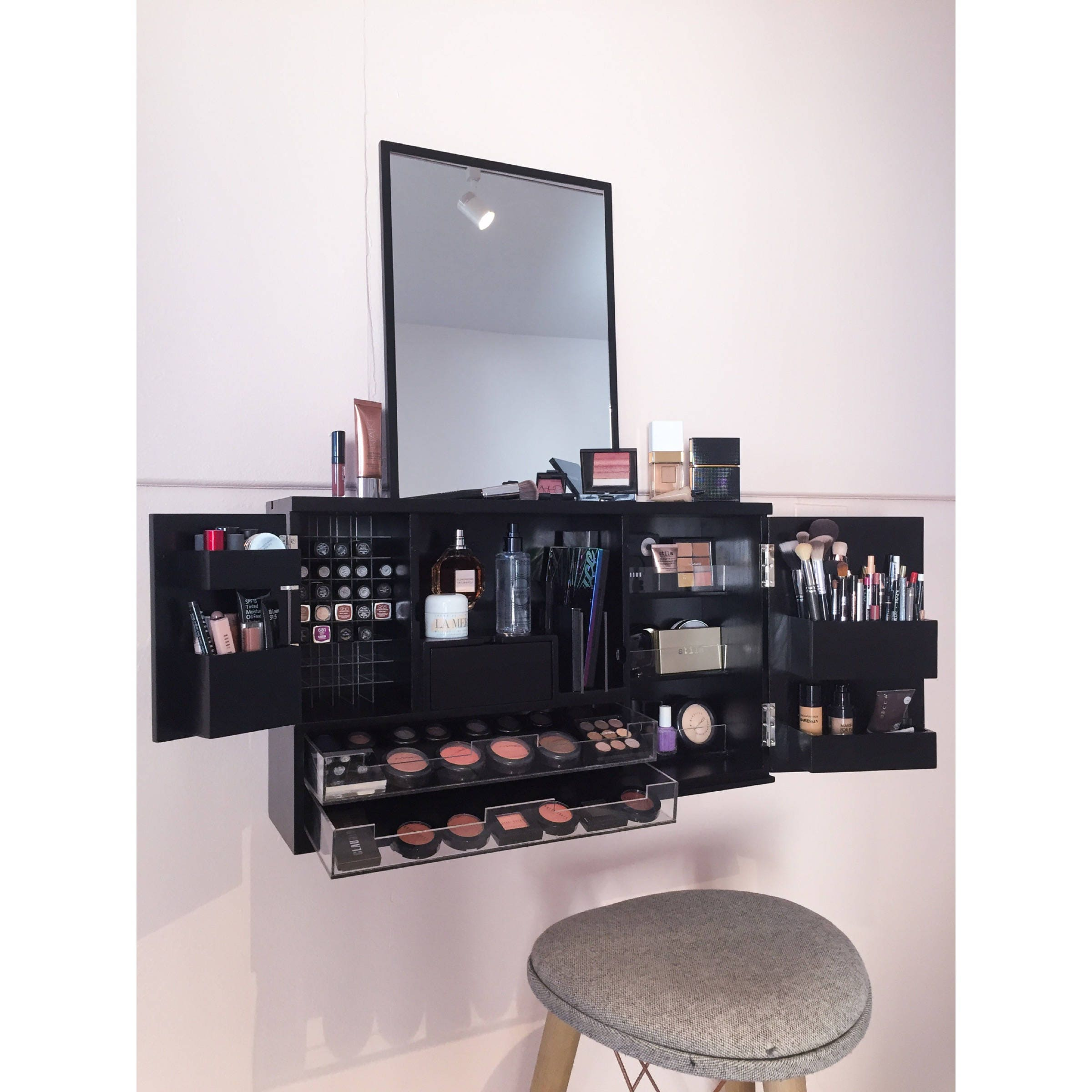 black wall mounted counter top makeup organizer vanity pre
