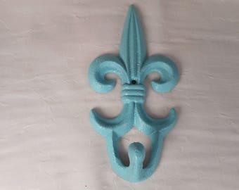 Large cast iron Fluer De Lis hook / home decor