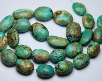 16 Inches Strand,Natural Arizona TURQUOISE Smooth Oval Shaped Size 14-18mm