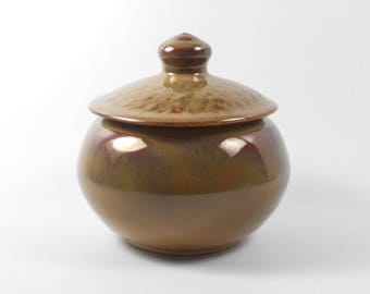 Keepsake urn - small pet urn - tan brown pottery jar - burial urn - urn for ashes  J86