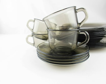 From 'Arcoroc', France - Heat Tempered Glass - Four Pairs Cup and Saucer - Smoked Glass - Mix and Match With Ceramic - Heat Tempered Glass