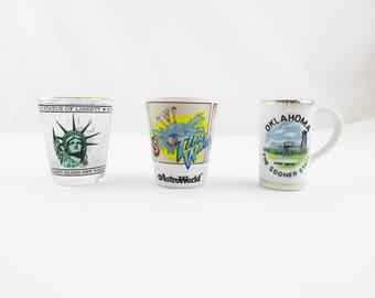 Your Choice - Shot Glasses - 'Statue of Liberty', 'AstroWorld' OR 'Oklahoma'- Collectible Barware - Great Gift - Jiggers