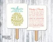 Personalized Pineapple | Tropical | Hawaiian Wedding Ceremony Program Fan - Digital File
