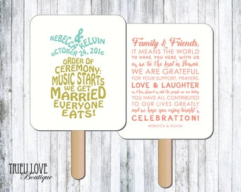 Personalized Pineapple | Tropical | Hawaiian Wedding Ceremony Program Fan - Digital File
