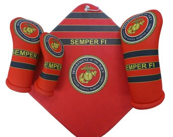United States Marine Corps Golf Head Covers matching microfiber Towel Made in the USA by BeeJos