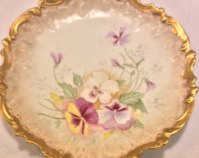 Antique French Limoges Plate, Coiffe Factory France, Heavy Gold with Pansy Flowers, Cabinet Plate, Hand Painted Pansies Floral Plate