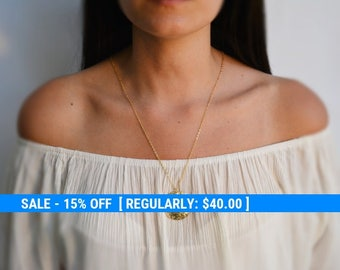 Gold necklace, long necklace, long necklace with an ethnic style pendant disc, everyday necklace- 10023