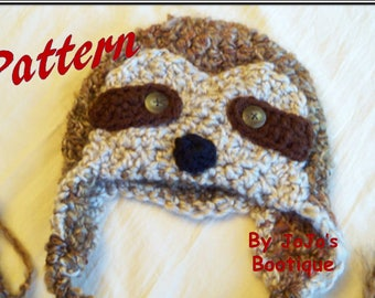 PATTERN - Sloth Hat Pattern - Baby Sloth Hat Tutorial - Crochet Sloth Pattern - Sloth  Crochet Pattern - Baby Hats - by JoJo's Bootique