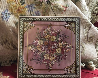 Country William Morris Floral Wall hanging tile trivet