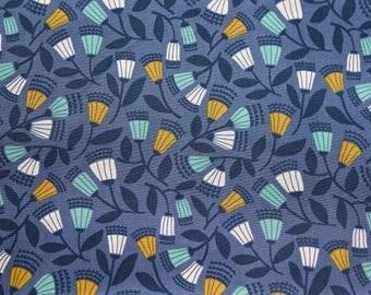 "Designed by ELIZABETH OLWEN - 'Bell Flower' on Blue, Multi-coloured. Cloud 9 Fabrics. Organic cotton poplin. Half Metre/19.5"""