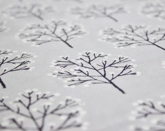 Designed by ELOISE RENOUF - 'Cherry Blossom' in Grey. Cloud 9 Fabrics. Organic cotton poplin. Half Metre/19.5""