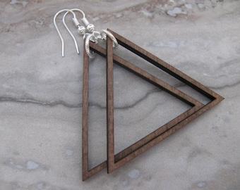 Large Walnut Wood Triangle Hoop Earrings Silver Ear Wires Joanna Gaines Inspired Large Hoops Toniraecreations