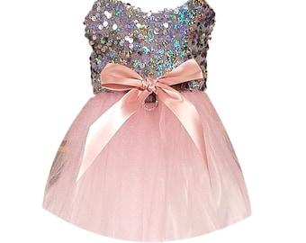 Dog Tutu Dress Silver Sequin with Pink Tutu Skirt, Dog Clothing, Dog Wedding Dress, Pet Clothing