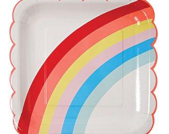 Meri Meri Large Rainbow scallop plates set of 12