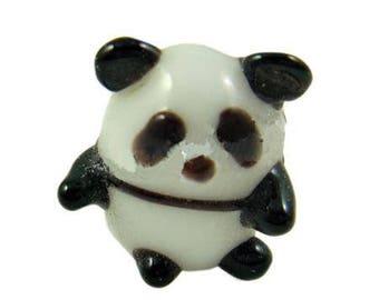 2 beautiful glass beads, Panda, made, 16x13mm