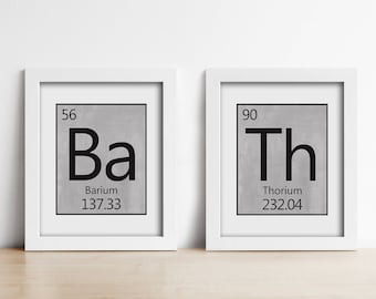 Bathroom PRINTABLE Art Prints - Periodic Table - Bath - Bathroom wall art - Grey Black White - Housewarming gift - Medical Student - Science