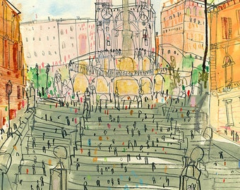 ROME ART PRINT, Spanish Steps Rome, Italy Painting, Rome Wall Art, 8 x 10 inch, Watercolor Sketch, Rome Illustration, Rome Drawing