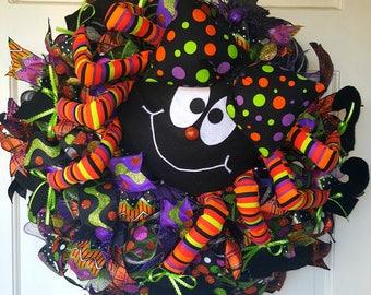 Itsy Bitsy Spider Deco Mesh Halloween Wreath, Fall Wreath, Spider Wreath Halloween Decoration Front Door Decor Door Reefs Autumn Wreath