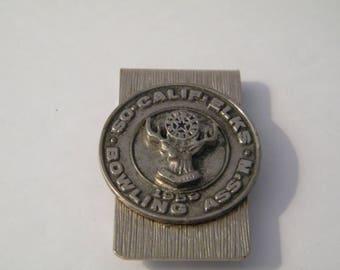 BPOE Elks Money Clip, Vintge 1959 So Cal Elks Bowling  Association member clip, award, souvenir, shabby money holder, collectible, Men gift