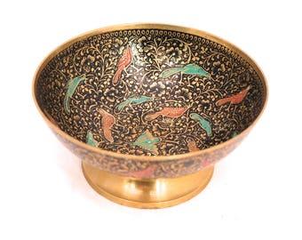 Vintage Brass Cloisonné Bowl, Brass Enamel Bird Bowl, Round Brass Dish, Decorative Bohemian Brass Dish, Brass Enameled Bowl, Indian Brass