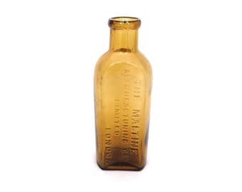 Vintage The Maltine  Apothecary Bottle, Antique Chemist Bottle, Amber Pharmacy Bottle, Quack Medicine Bottle, London Glass Bottle