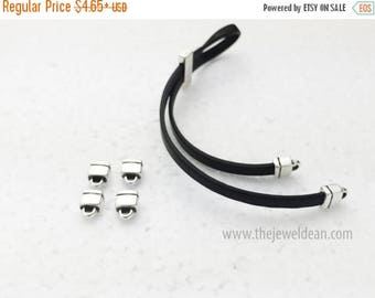 ON SALE 5MM End Caps - Antique Silver - For Use with 5Mm Flat Cords - Leather Cord Findings - Sterling Silver Plated Quality End Caps