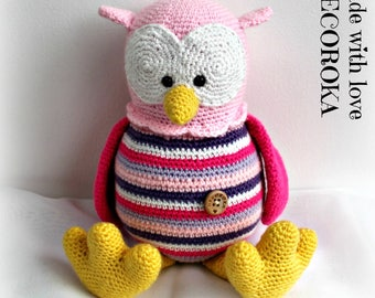 Plush pink OWL handmade crochet on request.
