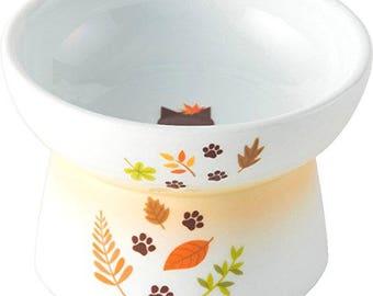 From Japan Nekoichi Ceramic Cat Food Bowl Leaf