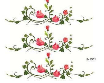 VinTaGe XL PinK U0026 GReEN FLoRaL BoRDeRs ShaBby DeCALs ~FuRNiTuRe SiZe~
