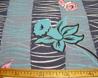 """Vintage 1950's Cotton Fabric MOD DAFFODILS Pink Blue Greyish Blue Black White 36"""" Wide By 18"""" Long"""
