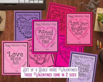 Kids Valentine cards Christian Valentines with Bible Verse Valentines for kids cards Scripture Verse Valentines Printable diy pdf valentines