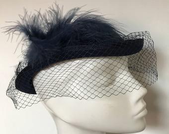 vintage fascinator navy netted veil tilt design round hat 1950s 1960s vintage wedding goodwood feathers blue 1980s