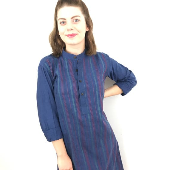 Vintage kaftan embroidery vintage caftan embroidered indian cotton blue green red 1960s 1970s boho hippie fabindia UK 8