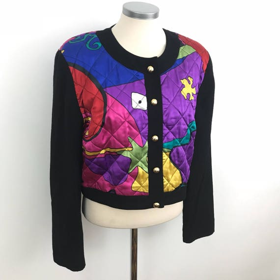 Vintage satin jacket 1980s quilted satin rainbow abstrsct waist jacket trashy padded glam gold button up 90s style UK 12 14 shoulder padd