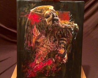 """PREDATOR  Hand Painted Acrylic Paint on Stretched Canvas 12"""" x 14"""""""