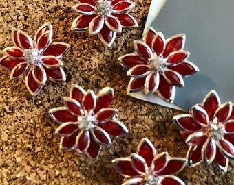 Rhinestone Push Pins 6pcs Red Rhinestone Flower Thumbtacks, Housewarming Gifts, Wedding Favors, Art Board Tacks, Office Supply