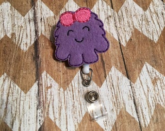Purple Monster Badge Reel, Badge Clip, Retractable Name Badge, ID Holder, Teacher ID Clip, Badge Pull