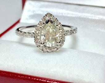 GIA Certified 1.43CT Pear Engagement Ring l 14KT White Gold Diamond Ring l Engagament Ring l Solitaire Ring