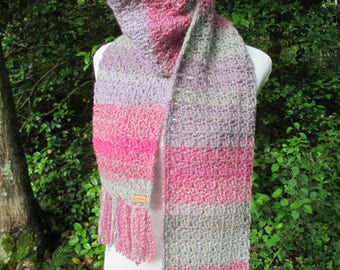 Crochet Scarf, Crochet Womens Scarf, Pink and Grey Crochet Scarf by CROriginals
