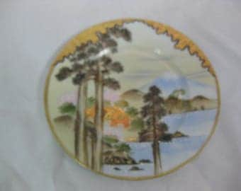 Nippon Hand Painted Moriage Plate, Japanese Porcelain Bread Plate, Mt Fuji