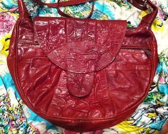 Leather Brick Red Vintage Shoulder Bag