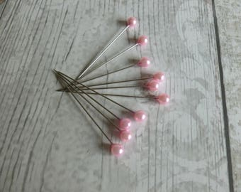 Acrylic pearl stick pins x 10 pink/white/journalling/embellishments