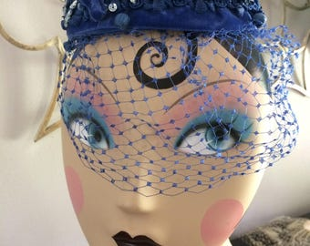 Blue Velvet Pillbox Hat with Veil and Adornments